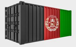 3D Illustration of Cargo Container with Afghanistan Flag. 3D Render of Cargo Container with Afghanistan Flag vector illustration