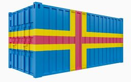 3D Illustration of Cargo Container with Aland Flag. 3D Render of Cargo Container with Aland Flag stock illustration