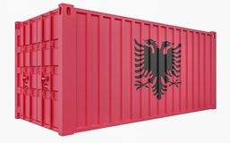 3D Illustration of Cargo Container with Albania Flag. 3D Render of Cargo Container with Albania Flag stock illustration