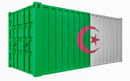 3D Illustration of Cargo Container with Algeria Flag. 3D Render of Cargo Container with Algeria Flag stock illustration