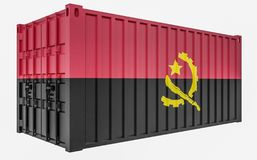 3D Illustration of Cargo Container with Angola Flag. 3D Render of Cargo Container with Angola Flag stock illustration
