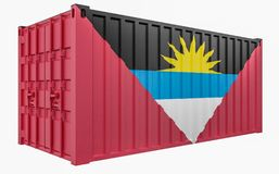3D Illustration of Cargo Container with Antigua and Barbuda Flag. 3D Render of Cargo Container with Antigua and Barbuda Flag vector illustration
