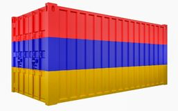 3D Illustration of Cargo Container with Armenia Flag. 3D Render of Cargo Container with Armenia Flag vector illustration