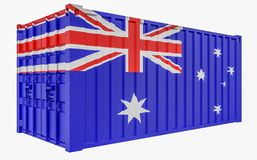 3D Illustration of Cargo Container with Australia Flag. 3D Render of Cargo Container with Australia Flag vector illustration