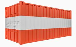 3D Illustration of Cargo Container with Austria Flag. 3D Render of Cargo Container with Austria Flag vector illustration