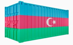 3D Illustration of Cargo Container with Azerbaijan Flag. 3D Render of Cargo Container with Azerbaijan Flag stock illustration