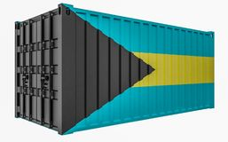 3D Illustration of Cargo Container with Bahamas Flag. 3D Render of Cargo Container with Bahamas Flag royalty free illustration