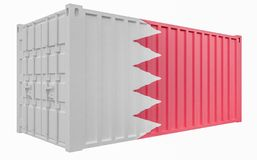 3D Illustration of Cargo Container with Bahrain Flag. 3D Render of Cargo Container with Bahrain Flag royalty free illustration