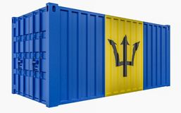 3D Illustration of Cargo Container with Barbados Flag. 3D Render of Cargo Container with Barbados Flag royalty free illustration