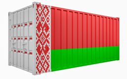 3D Illustration of Cargo Container with Belarus Flag. 3D Render of Cargo Container with Belarus Flag vector illustration