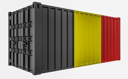 3D Illustration of Cargo Container with Belgium Flag. 3D Render of Cargo Container with Belgium Flag royalty free illustration