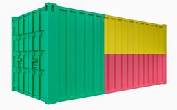3D Illustration of Cargo Container with Benin Flag. 3D Render of Cargo Container with Benin Flag stock illustration