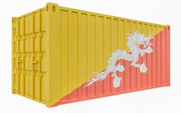 3D Illustration of Cargo Container with Bhutan Flag. 3D Render of Cargo Container with Bhutan Flag royalty free illustration