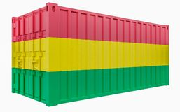3D Illustration of Cargo Container with Bolivia Flag. 3D Render of Cargo Container with Bolivia Flag stock illustration