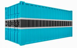 3D Illustration of Cargo Container with Botswana Flag. 3D Render of Cargo Container with Botswana Flag stock illustration