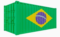 3D Illustration of Cargo Container with Brazil Flag. 3D Render of Cargo Container with Brazil Flag royalty free illustration