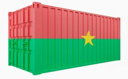 3D Illustration of Cargo Container with Burkina Faso Flag. 3D Render of Cargo Container with Burkina Faso Flag vector illustration
