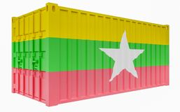 3D Illustration of Cargo Container with Burma - Myanmar Flag. 3D Render of Cargo Container with Burma - Myanmar Flag royalty free illustration