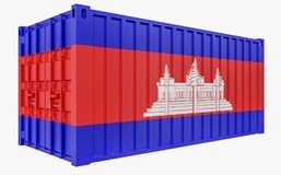 3D Illustration of Cargo Container with Cambodia Flag. 3D Render of Cargo Container with Cambodia Flag stock illustration