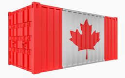 3D Illustration of Cargo Container with Canada Flag. 3D Render of Cargo Container with Canada Flag stock illustration