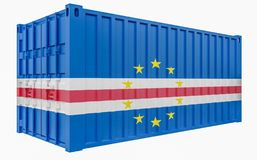 3D Illustration of Cargo Container with Cape Verde Flag. 3D Render of Cargo Container with Cape Verde Flag stock illustration