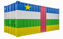 3D Illustration of Cargo Container with Central African Republic Flag. 3D Render of Cargo Container with Central African Republic Flag stock illustration