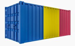 3D Illustration of Cargo Container with Chad Flag. 3D Render of Cargo Container with Chad Flag vector illustration