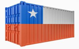 3D Illustration of Cargo Container with Chile Flag. 3D Render of Cargo Container with Chile Flag vector illustration
