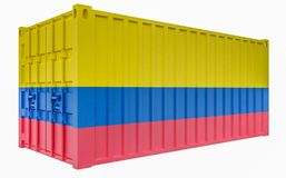 3D Illustration of Cargo Container with Colombia Flag. 3D Render of Cargo Container with Colombia Flag stock illustration