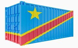 3D Illustration of Cargo Container with Congo Democratic Republic Flag. 3D Render of Cargo Container with Congo Democratic Republic Flag royalty free illustration