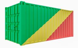 3D Illustration of Cargo Container with Congo Republic Flag. 3D Render of Cargo Container with Congo Republic Flag royalty free illustration