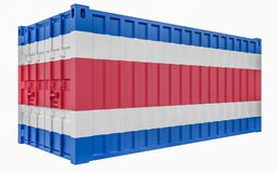 3D Illustration of Cargo Container with Costa Rica Flag. 3D Render of Cargo Container with Costa Rica Flag vector illustration