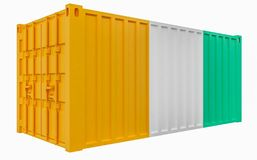 3D Illustration of Cargo Container with Cote d`Ivoire Flag. 3D Render of Cargo Container with Cote d`Ivoire Flag royalty free illustration
