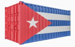 3D Illustration of Cargo Container with Cuba Flag. 3D Render of Cargo Container with Cuba Flag stock illustration