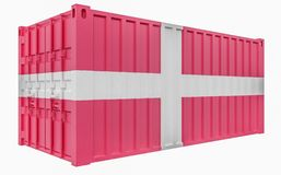 3D Illustration of Cargo Container with Denmark Flag. 3D Render of Cargo Container with Denmark Flag vector illustration