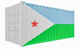 3D Illustration of Cargo Container with Djibouti Flag. 3D Render of Cargo Container with Djibouti Flag vector illustration