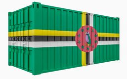 3D Illustration of Cargo Container with Dominica Flag. 3D Render of Cargo Container with Dominica Flag vector illustration