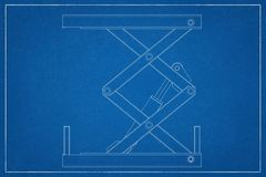 3d illustration of a cargo lift. 3d illustration of a cargo lift in a blueprint. Rendering with colors and wire-frame stock illustration
