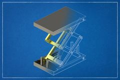 3d illustration of a cargo lift. 3d illustration of a cargo lift in a blueprint. Rendering with colors and wire-frame vector illustration