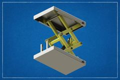 3d illustration of a cargo lift. 3d illustration of a cargo lift in a blueprint. Rendering with colors and wire-frame royalty free illustration