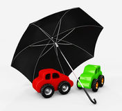 3d Illustration of Cars with umbrella. Safety, insurance, risk concept. Protect auto Stock Photos