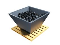 3d illustration of a cart, trolley with black coal. royalty free illustration
