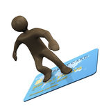 3D Illustration, cartoon character surfing on creditcard Royalty Free Stock Images