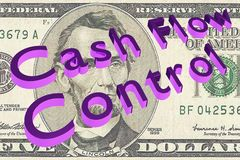 Cash Flow Control - financial concept. 3D illustration of Cash Flow Control title on Five Dollars bill as a background Stock Photos