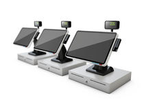 3d illustration of cash registers, blured background Royalty Free Stock Photography