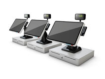 3d illustration of cash registers in a row, isolated on white background Stock Photo