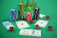 3D illustration casino game. Chips, playing cards for poker. Poker chips, red dice and money on green table. Online. Casino concept Royalty Free Stock Image