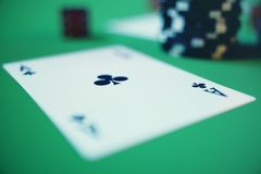 3D illustration casino game. Chips, playing cards for poker. Poker chips, red dice and money on green table. Online. Casino concept Stock Photo