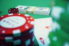 3D illustration casino game. Chips, playing cards for poker. Poker chips, red dice and money on green table. Online. Casino concept Royalty Free Stock Photos