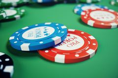 3D illustration casino game. Chips, playing cards for poker. Poker chips, red dice and money on green table. Online royalty free illustration